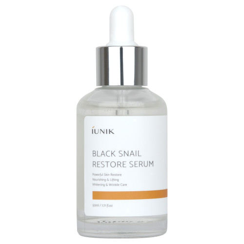 iUNIK Black Snail Restore Serum 50 mL: Contains 70% Black snail secretion filtrate, Centella asiatica, niacinamide, fermentation extracts and more to help nourish the skin and make it look its best.