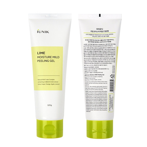 iUNIK Lime Moisture Mild Peeling Gel - gently exfoliates dead skin using five natural AHAs from fruits (lime, grape, orange, apple and lemon).