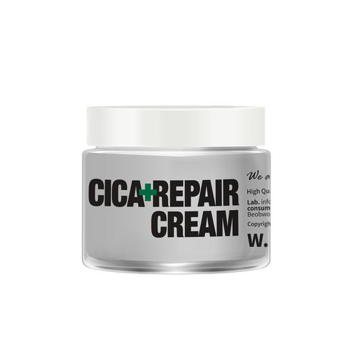 The W.Skin Laboratory Cica Repair Cream soothes red/inflamed skin. Suitable for use on sensitive skin, after laser treatments or inflamed blemishes. Contains Asiatic Pennywort Extract.