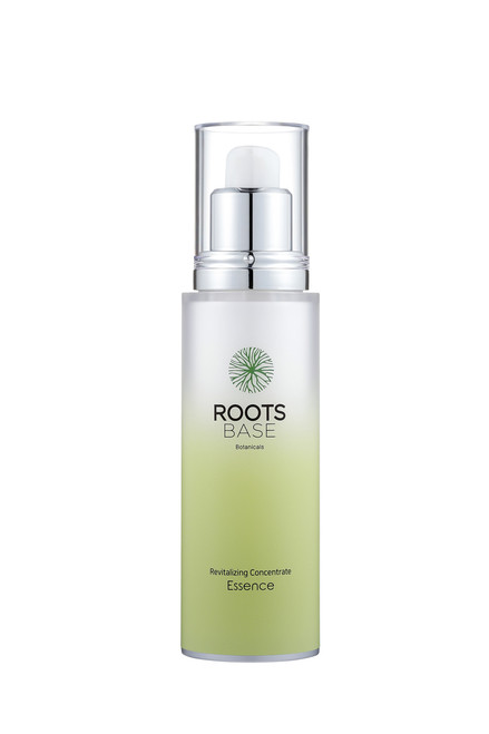 Roots Base Botanicals Revitalising Concentrate Essence 50 mL: A highly concentrated essence that brightens the skin and reduces wrinkles with Ginseng Berry Extract and Red Ginseng Fermentation Extract (Lactobacillus).