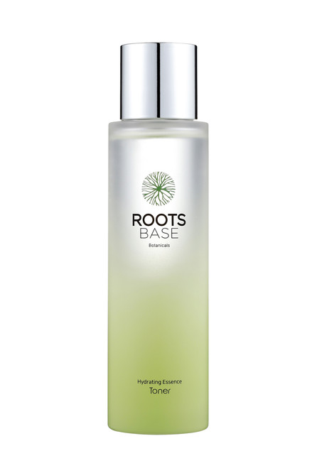 The Roots Base Botanicals Hydrating Essence Toner provides superior hydration with Pachyma extract from pine tree roots and preps skin for other skincare products.