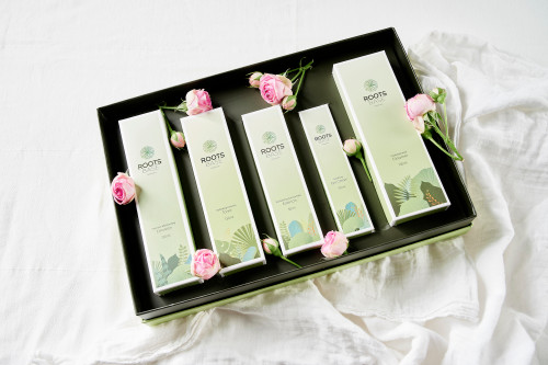 Roots Base Botanicals Box Set (5 products): Consists of the full-sized Roots Base Cleanser, Toner, Essence, Emulsion and Eye Cream