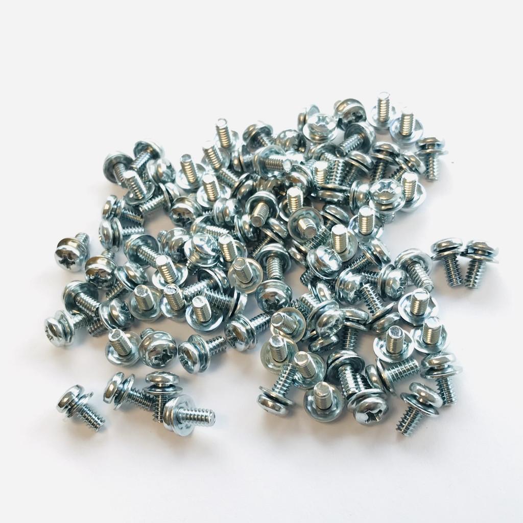 "(PKG of 100) 6-32 x 5/16"" SEMS Screws, Square Cone Washer, Phillips Pan Head, Steel/Zinc"