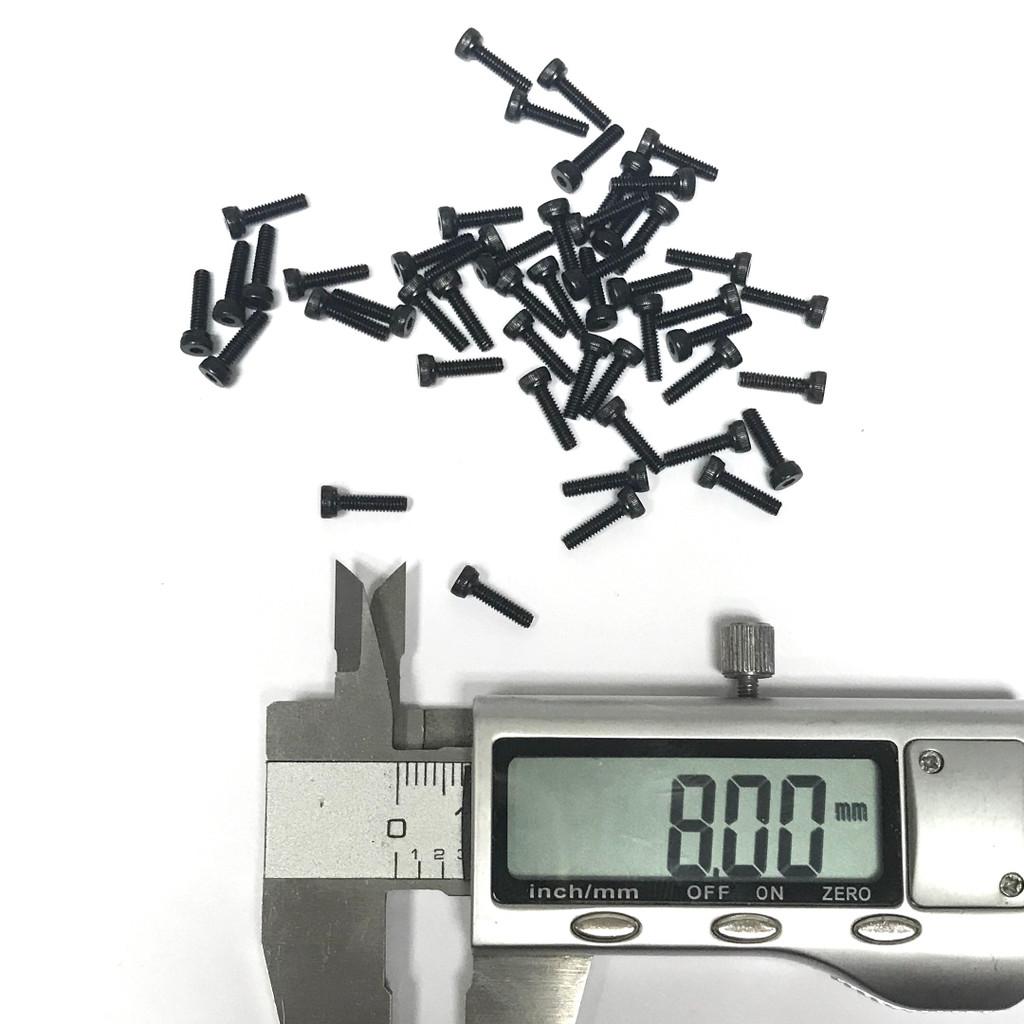 (PKG of 50) M2 x 8mm, Socket Head Cap Screw, DIN912, 12.9 Steel, Black Oxide
