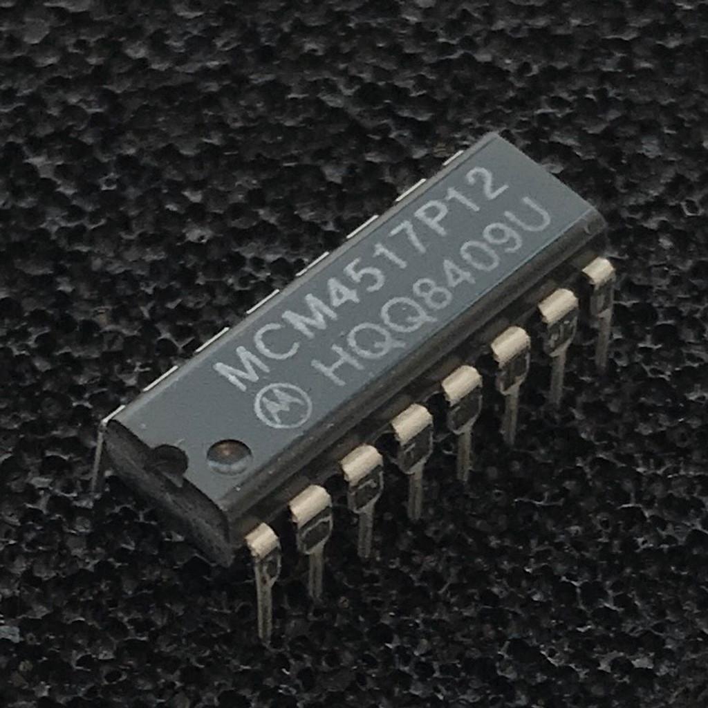 MCM4517P12 DRAM, 16,384-Bit, 16K x 1, 120ns, PDIP-16, Motorola
