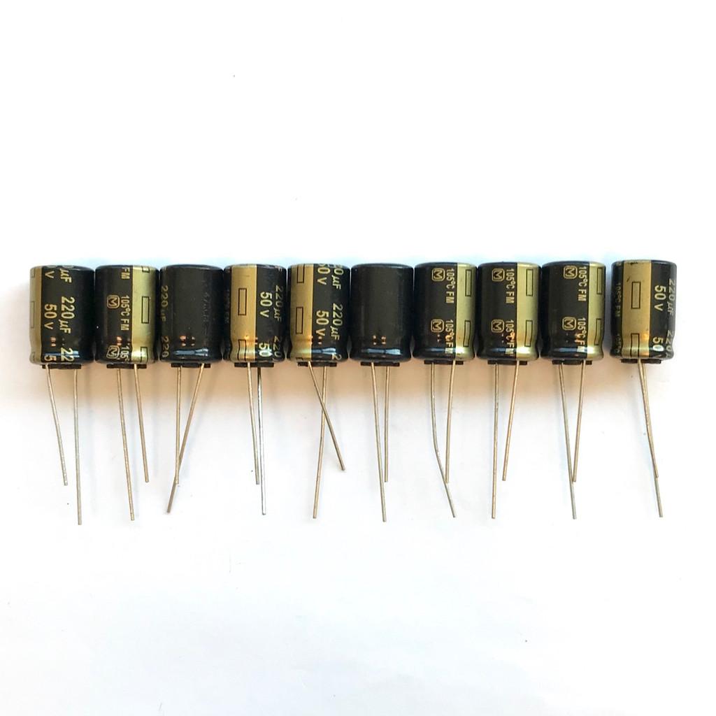 (PKG of 10) 220uF 50V Electrolytic Capacitor, Radial, +105ºC, Panasonic EEU-FM1H221
