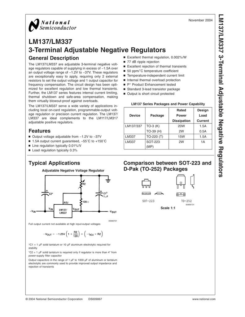 (PKG of 10) LM337T Voltage Regulator, National, Adj. -1.2V to -37V, 1.5A, TO-220