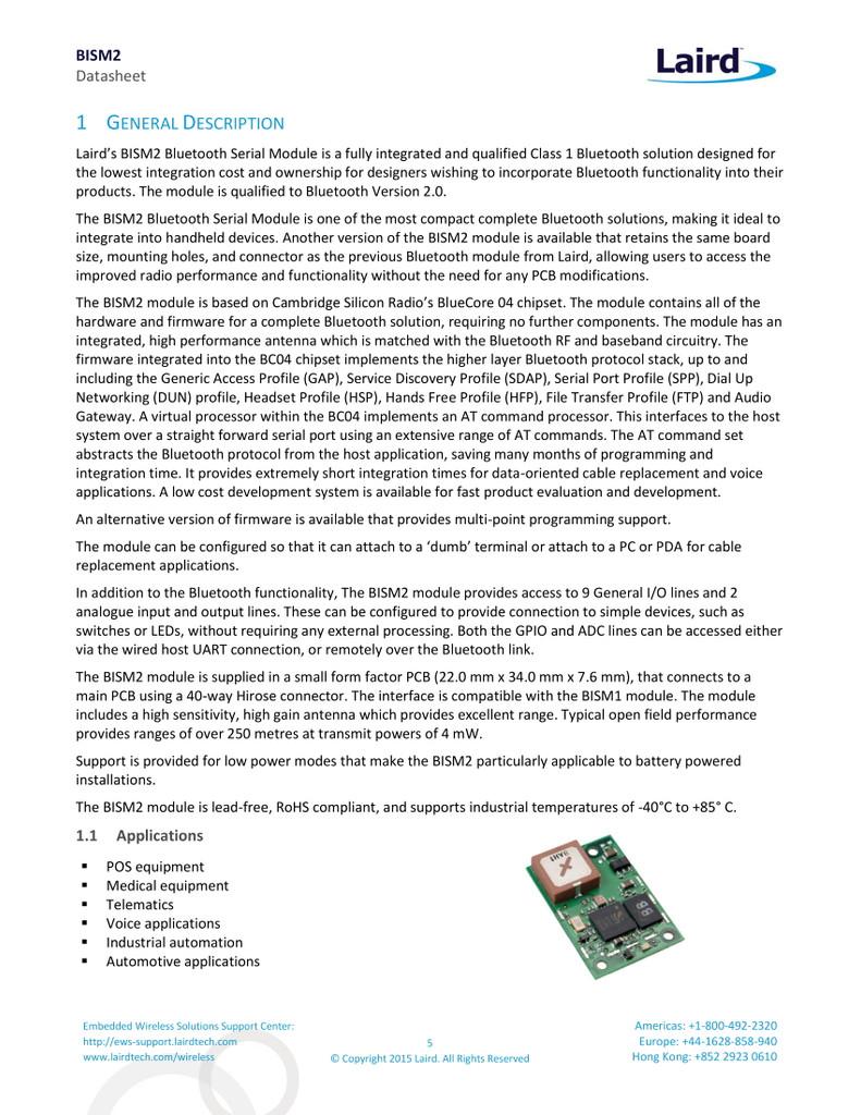 Laird TRBLU23-00200 Bluetooth Intelligent Serial Module, BISM2, Bluetooth 2.0