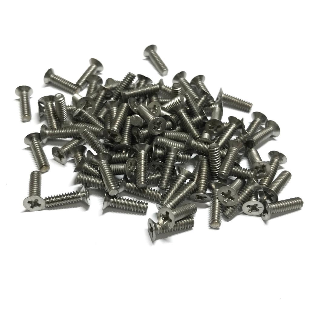 "(PKG of 100) 6-32 x 1/2"" Machine Screw, Phillips Flat Head, Stainless Steel"