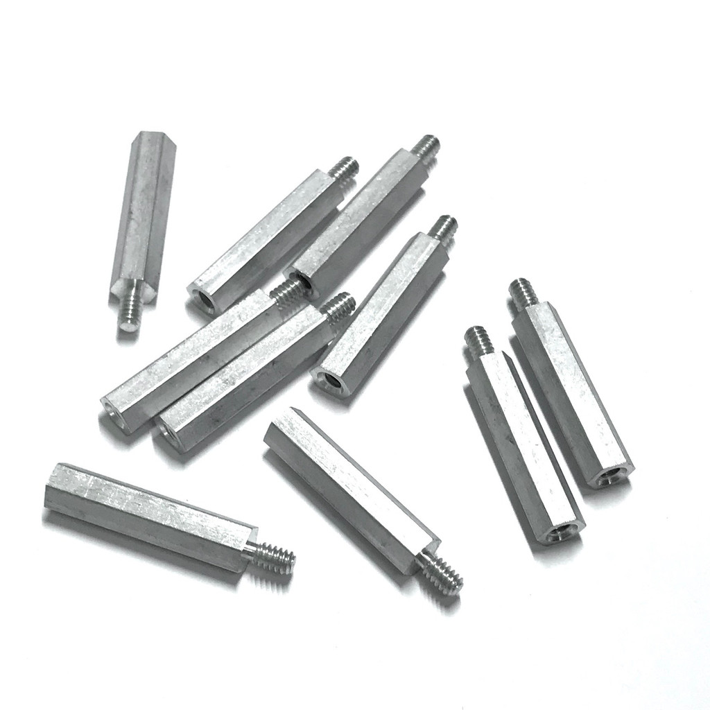 "(PKG of 10) Standoff, 1/4"" Hex, Male-Female, 6-32, 1-1/8"" Length, Aluminum"