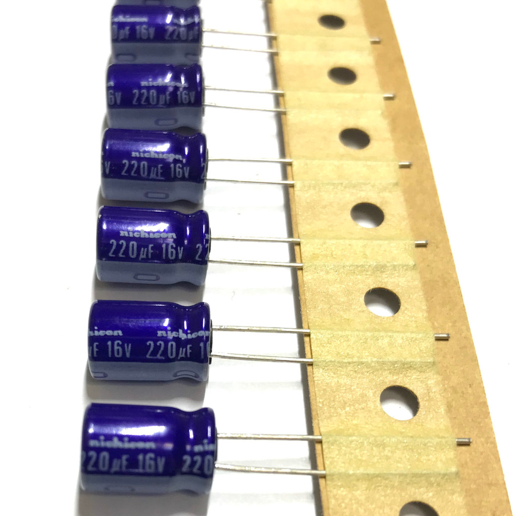 (PKG of 10) 220uF 16V Electrolytic Capacitor, Radial, 85ºC, Nichicon VX Series
