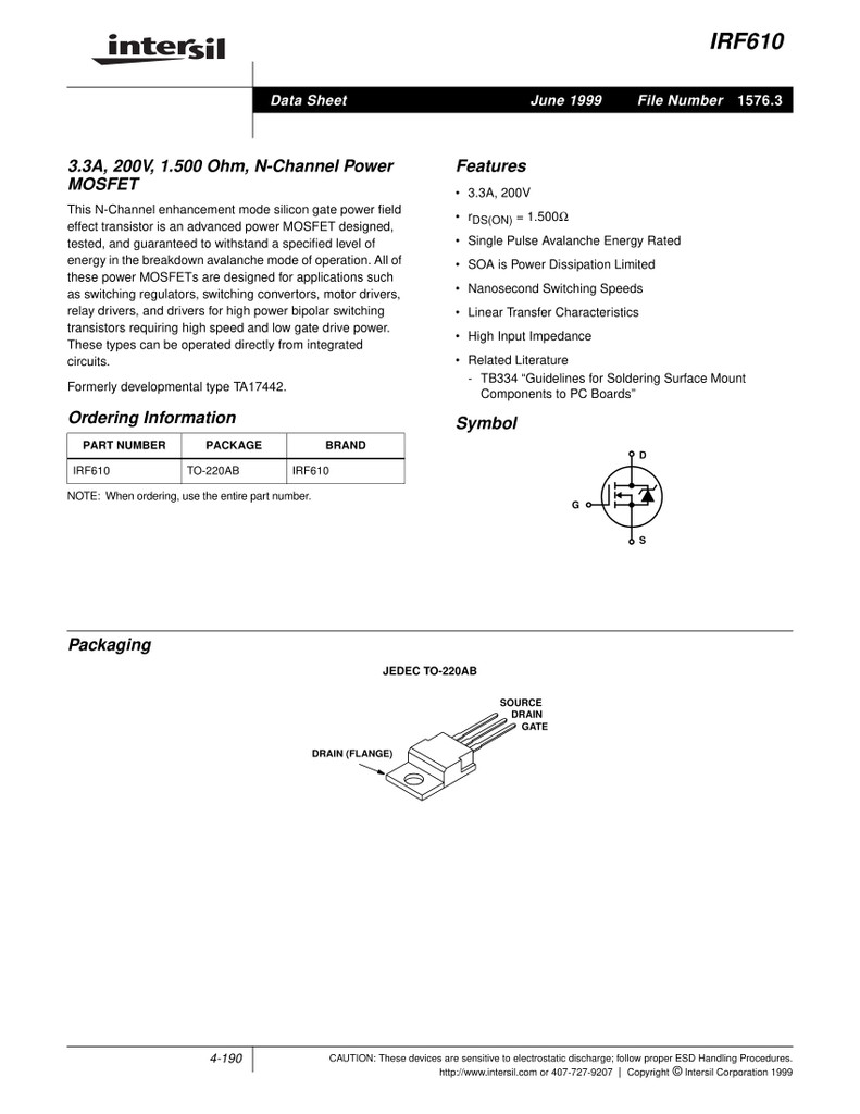 (PKG of 10) IRF610 N-Channel Power MOSFET, 3.3A, 200V, Intersil, TO-220
