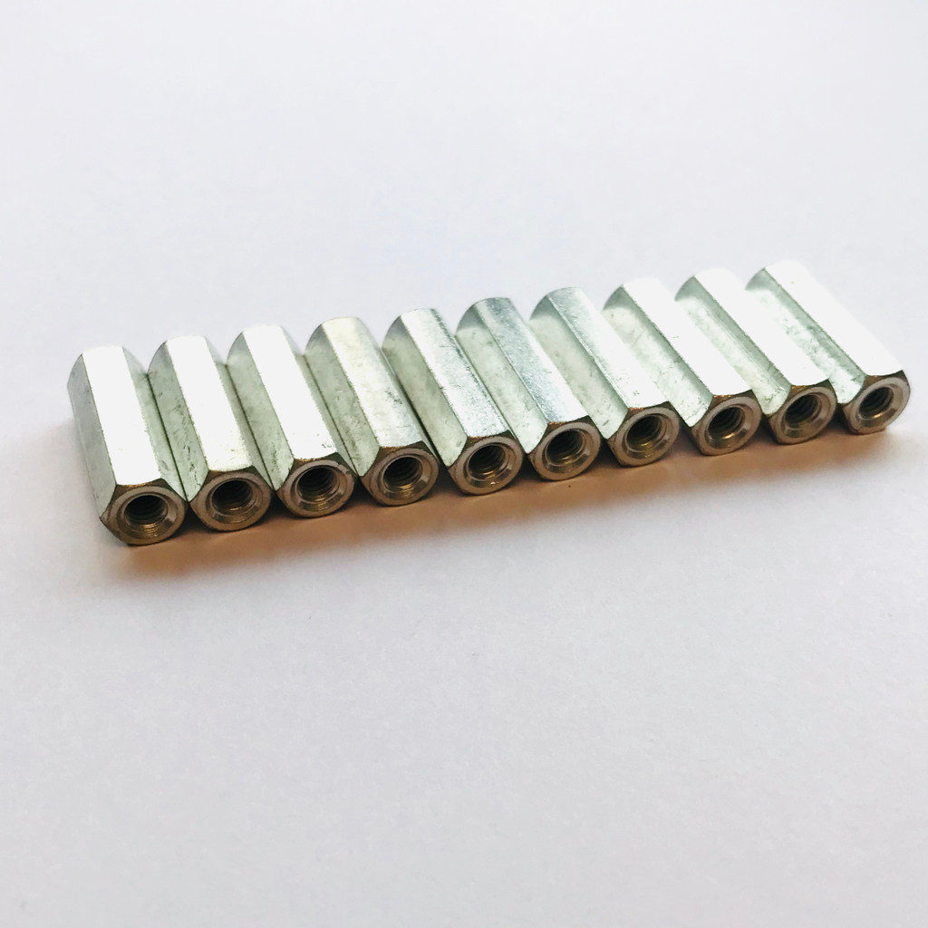 """(PKG of 10) Standoff, 5/16"""" Hex, F-F, 10-32, 1"""" L, Brass, Electro Tin, RAF"""