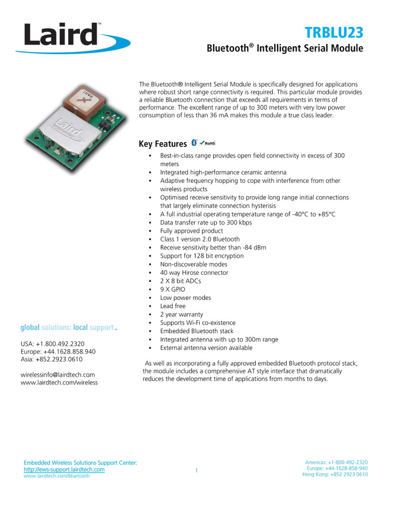 Laird TRBLU23 Bluetooth Intelligent Serial Module, BISM2, Bluetooth 2.0 *BULK PACKAGED*