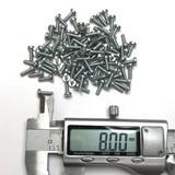 (PKG of 100) M2.5 x 8mm Machine Screw, Phillips Pan, Zinc Plated Steel, M2.5x8
