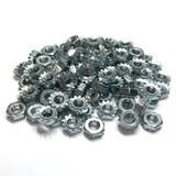 "(PKG of 100) 10-32 Keps Nut, K-Lock, Zinc Plated Steel, 3/8"" Flats"