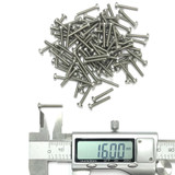 (PKG of 100) M2.5 x 16mm Machine Screw, Phillips Pan, A2 Stainless, M2.5x16