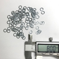 (PKG of 100) M4 Internal Tooth Lock Washer, Zinc Plated Steel, DIN6797J, 8 mm OD