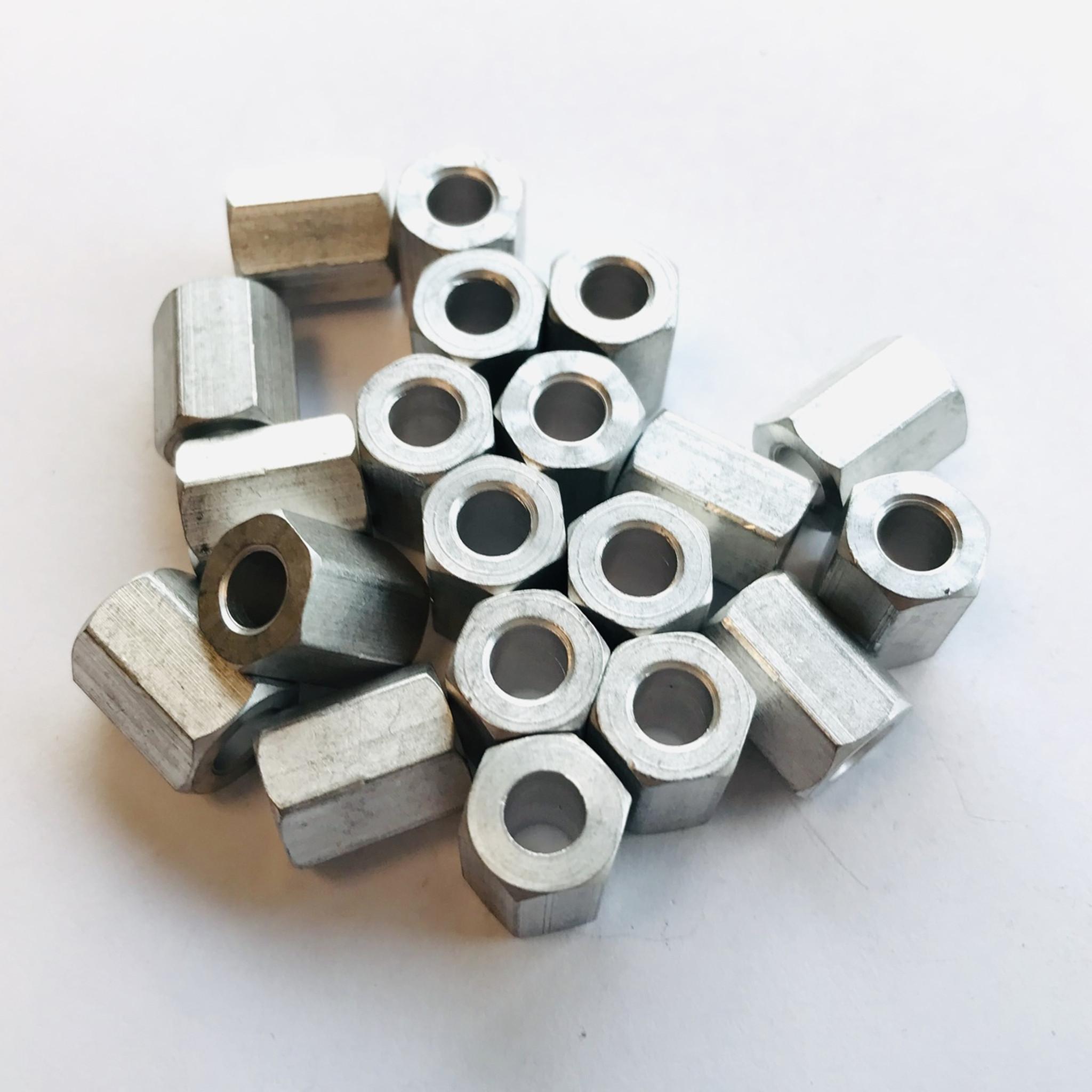 """3//8"""" Hex 1//2"""" L Aluminum Spacer 0.192"""" ID PKG of 20"""