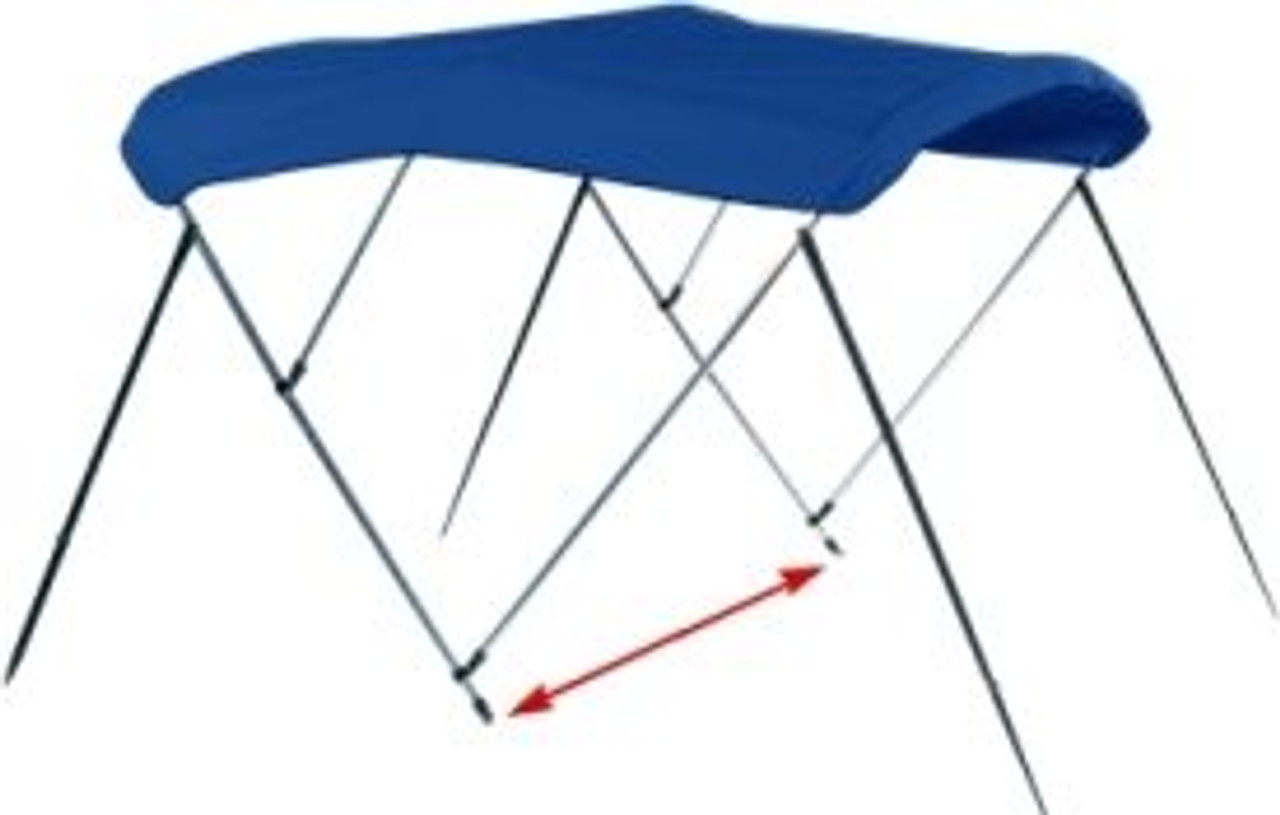 """Determine the width of the bimini top by measuring from mounting point to mounting point (where you want the bimini top to attach on one side of the boat to the same location on the opposite side of the boat). Bimini frames can """"flex"""" 3 inches out or in (i.e. a 54""""-60"""" width bimini assembled will measure approximately 57"""" in width but can be flexed in to 54"""" or out to 60"""").  Width is the most crucial measurement for finding a bimini top. While it is related to the width of your boat, this measurement is not the same as """"beam"""" or boat width."""
