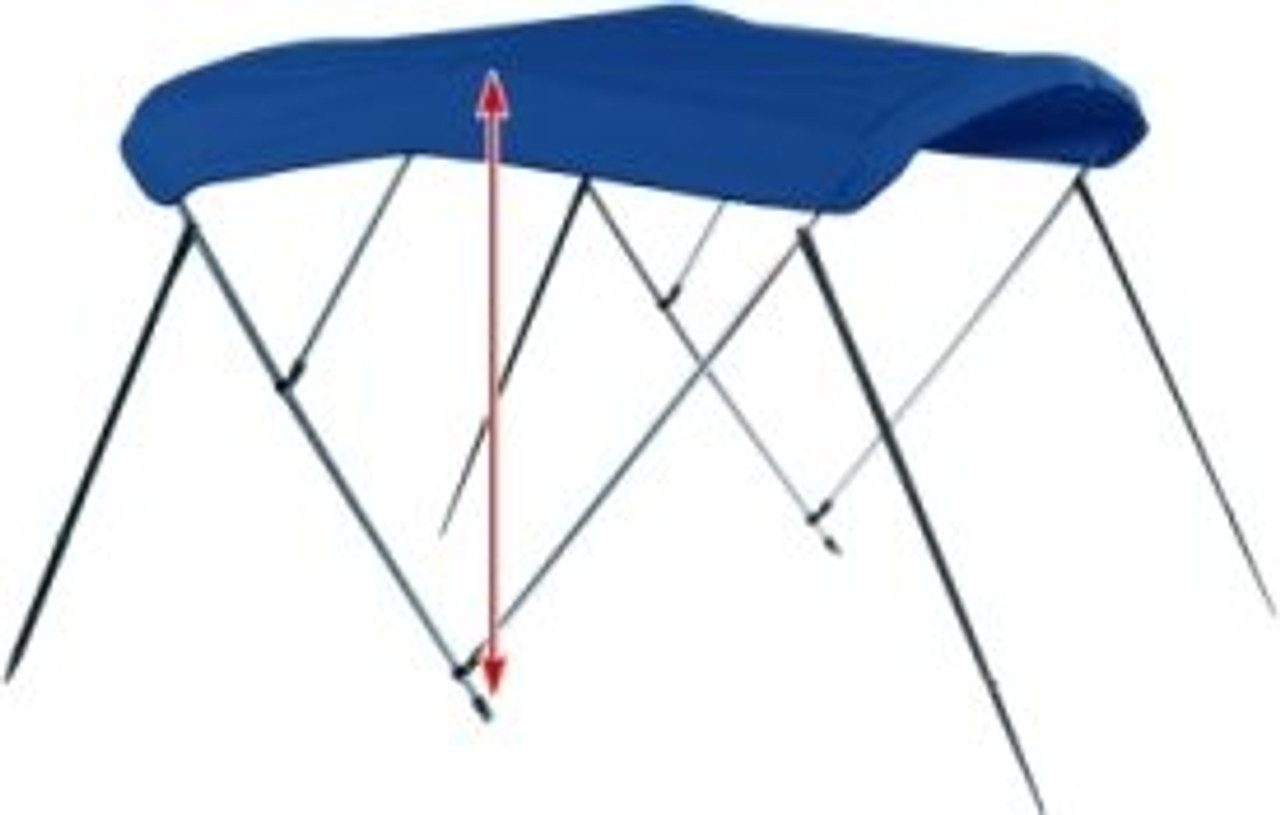 """Determine the height of the bimini top by measuring from the mounting point straight up with a tape measure. Choose the ideal height to fit your needs. A Center Console boat will need a taller bimini top, while a Ski Boat needs a shorter bimini top for a sleeker look and ride. A boat with 30"""" side rails and a 48"""" tall bimini top would provide 78"""" of clearance."""