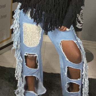 Sequin Ruffle Jeans