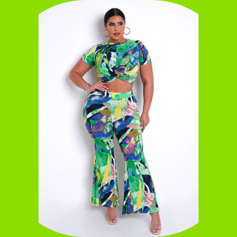 Abstract Lime Two Piece Set