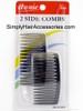 Annie Side Hair Combs - Black - 2 Pcs.