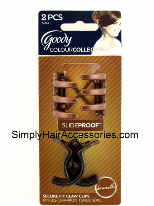 Goody Colour Collection Slideproof 1/4 Claw Hair Clips - Brunette - 2 Pcs.