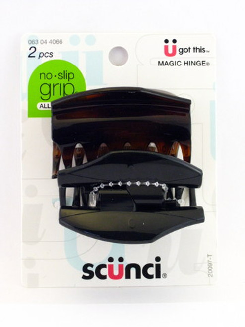 Scunci No Slip Grip Covered Hinge Claw Hair Clips - 2 Pcs.
