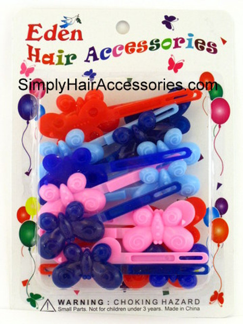 Eden Girls Self Hinge Butterfly Hair Barrettes - 18 Pcs.