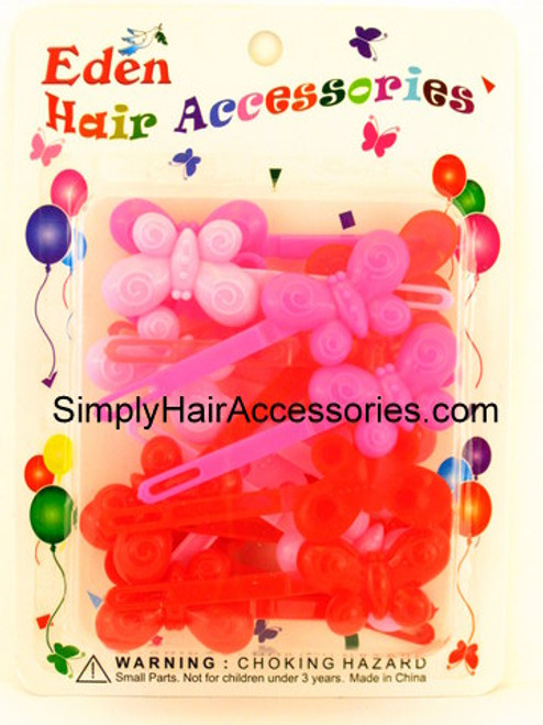 Eden Girls Self Hinge Butterfly Hair Barrettes - Pink & Red - 18 Pcs.