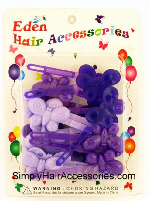 Eden Girls Self Hinge Butterfly Hair Barrettes - Shades of Purple - 18 Pcs.