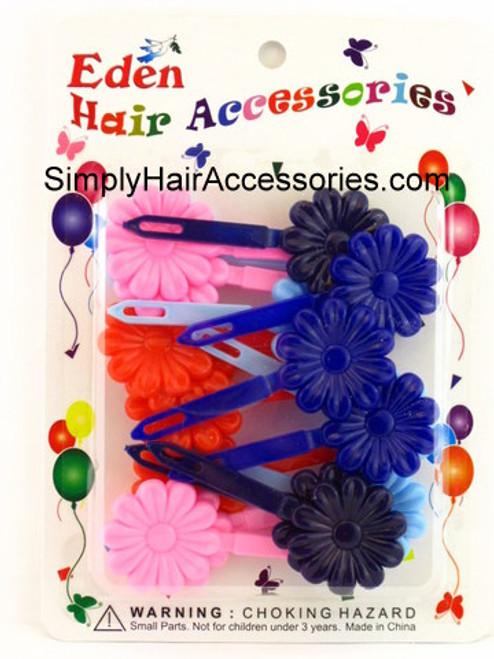 Eden Girls Self Hinge Flower Hair Barrettes - 18 Pcs.
