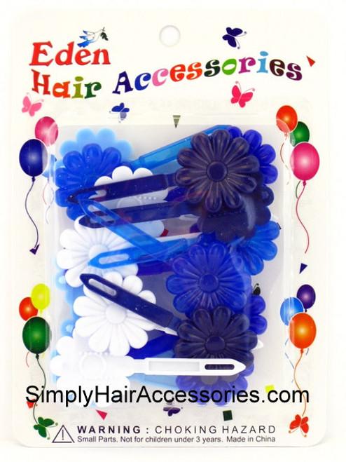 Eden Girls Self Hinge Flower Hair Barrettes - Blue & White - 18 Pcs.