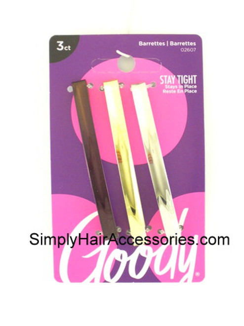 Goody Camile Metal Domed Staytight Hair Barrettes - 3 Pcs.