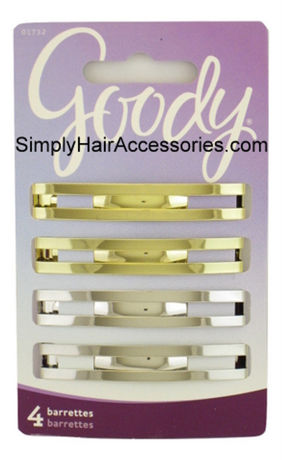 Goody Lexy Metal Domed Double Bar Hair Barrettes - 4 Pcs.