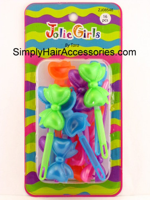 Jolie Girls By Tara Self Hinge Plastic Bow Hair Barrettes - 16 Pcs.