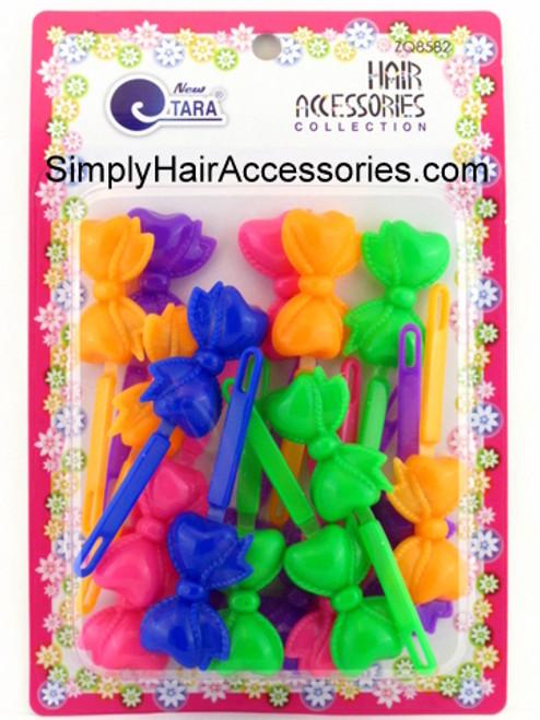Tara Girls Self Hinge Assorted Bow Hair Barrettes - 18 Pcs.