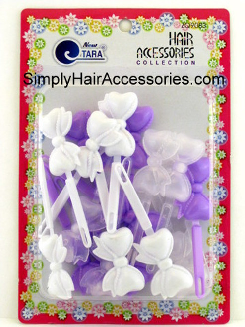 Tara Girls Self Hinge Bow Hair Barrettes - Purple, White & Clear - 18 Pcs.
