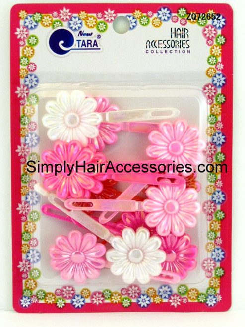 Tara Girls Self Hinge Flower Hair Barrettes - Pink & White -  12 Pcs.