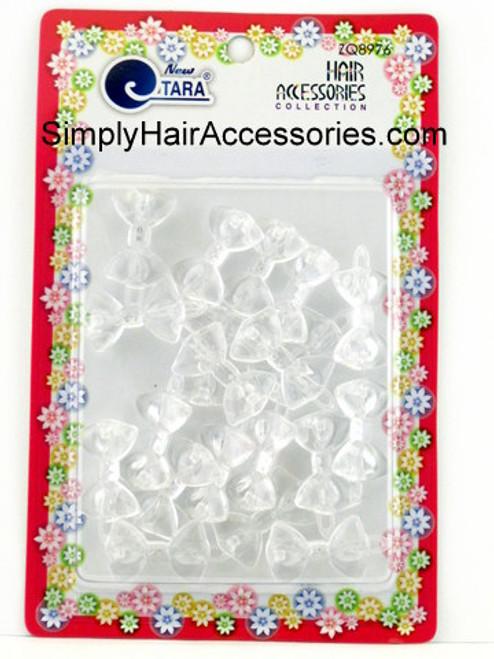 Tara Girls Self Hinge Plastic Mini Bow Hair Barrettes - Clear - 20 Pcs.