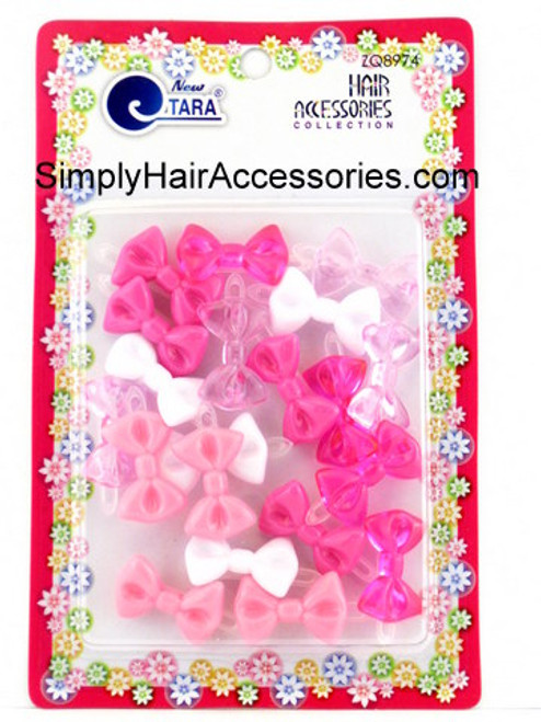 Tara Girls Self Hinge Plastic Mini Bow Hair Barrettes - Pink & White - 20 Pcs.