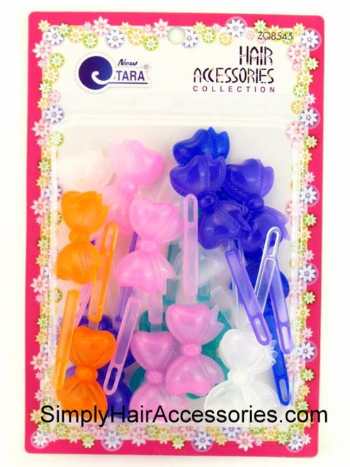 Tara Girls Self Hinge Transparent Bow Hair Barrettes - 18 Pcs.
