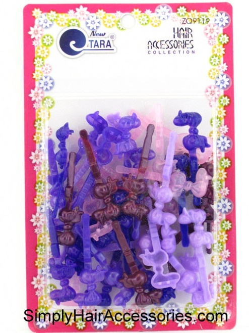 Tara Self Hinge Baby Bow Hair Barrettes - Purples -  42 Pcs.