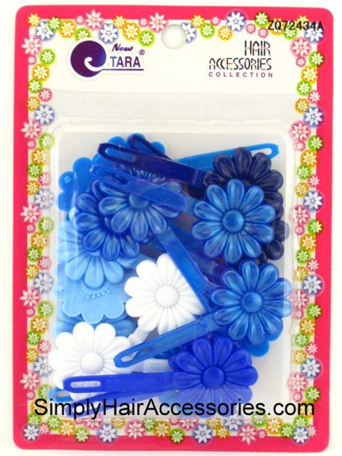 Tara Self Hinge Flower Hair Barrettes - Blue & White - 18 Pcs.