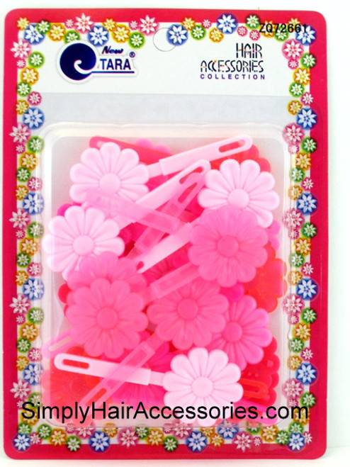 Tara Self Hinge Flower Hair Barrettes - Pinks - 18 Pcs.