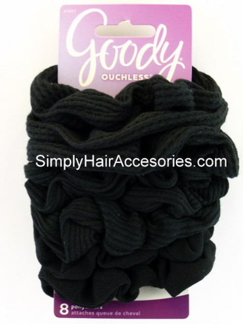 Goody Ouchless Mixed Texture Knit Black Scrunchies - 8 Pcs.