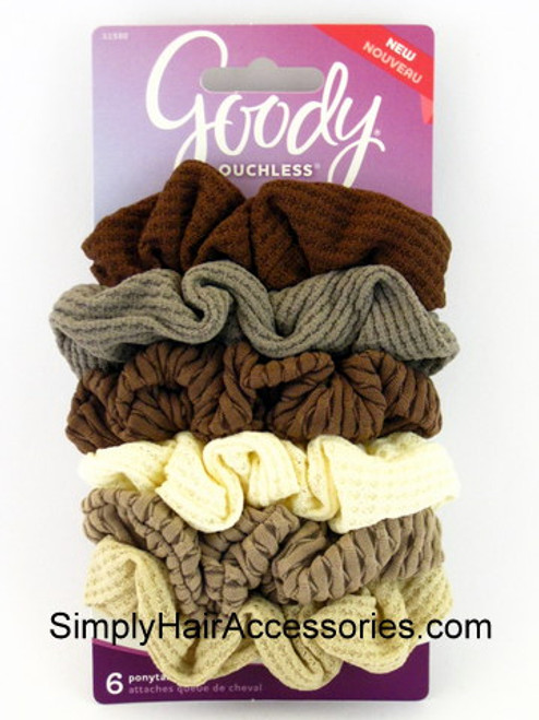 Goody Ouchless Nude Knit Ponytailer Scrunchies -  6 Pcs.