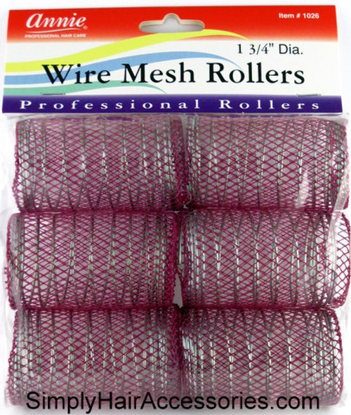 "Annie 1-3/4"" Jumbo Wire Mesh Hair Rollers - 6 Pcs."